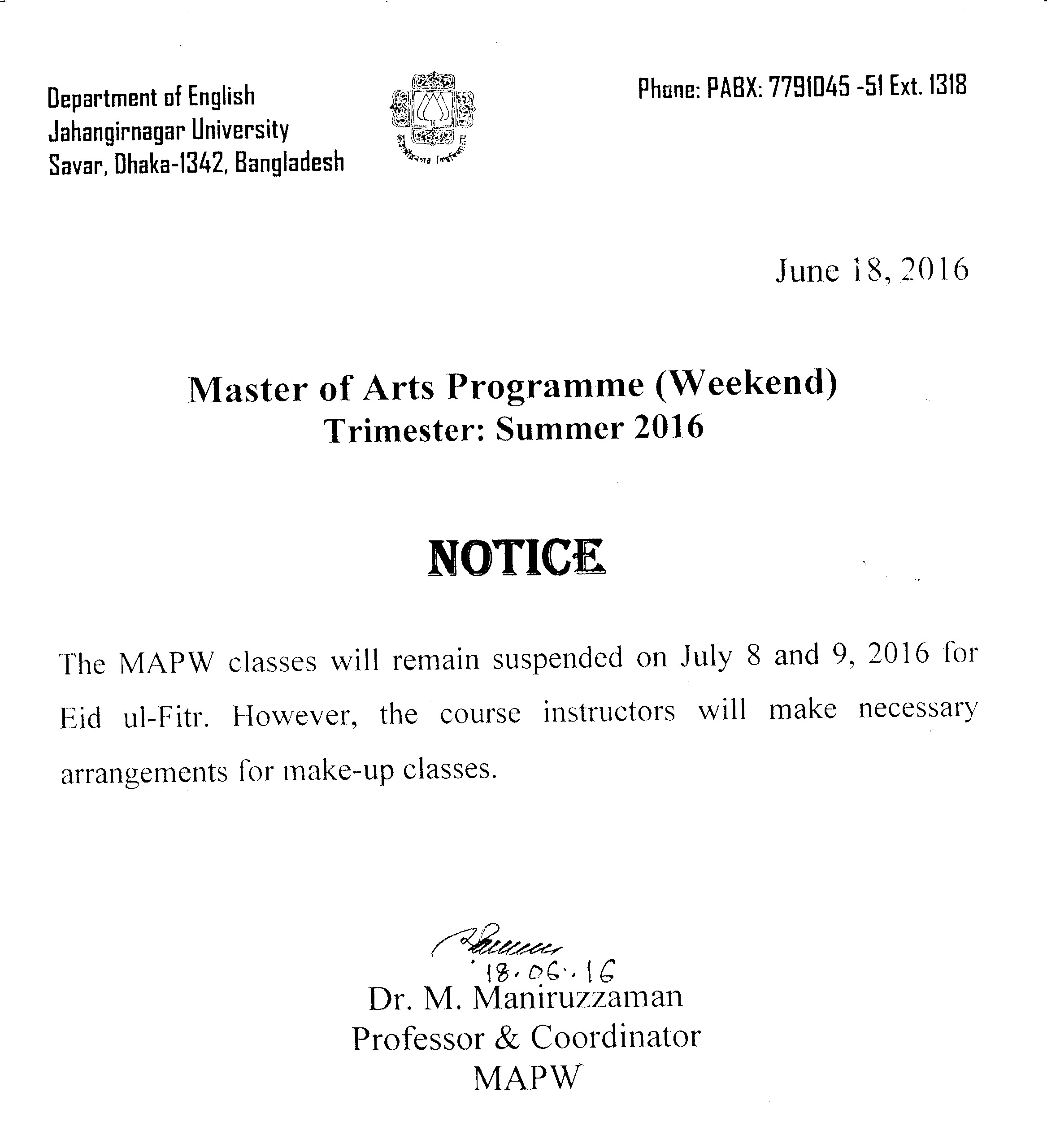 Class Suspended For Eid Ul Fitr