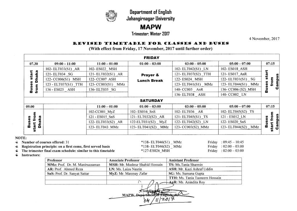 Cl Timetable   Class Timetable Update Department Of English