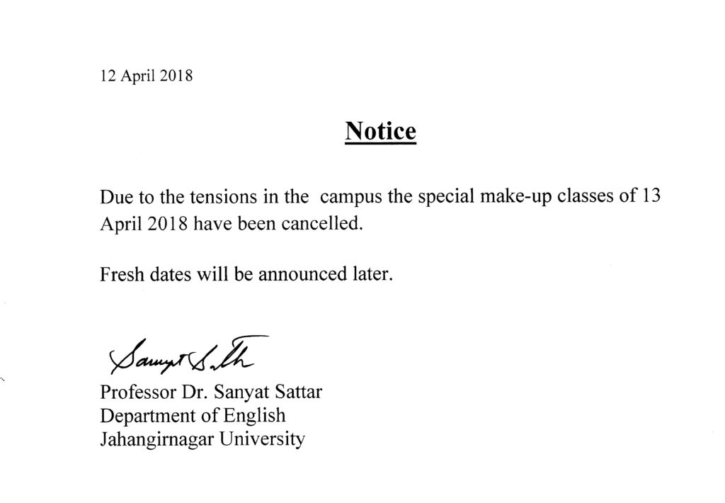 Class cancellation notice: 13 April 2018 (SnS) | Department of English